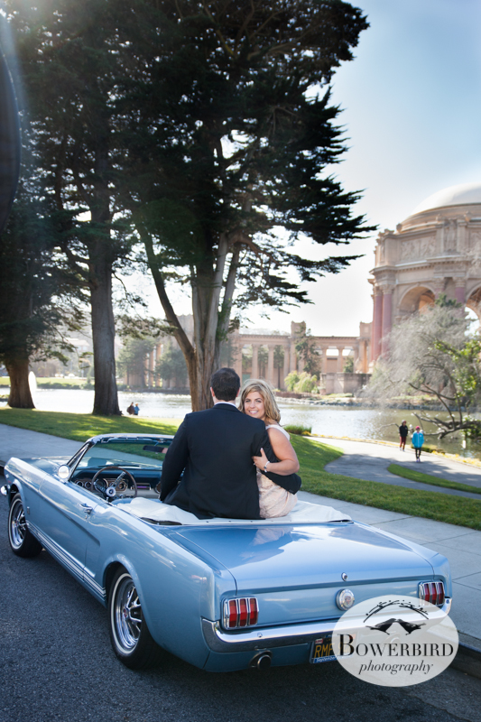 Stopping at the Palace of Fine Arts in the '66 Mustang convertible. © Bowerbird Photography 2013; Engagement Photography at Palace of Fine Arts, San Francisco.