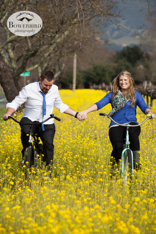 Celebrating their engagement and riding through the mustard fields hand-in-hand. © Bowerbird Photography 2013; Engagement Photography in Napa Valley, CA.
