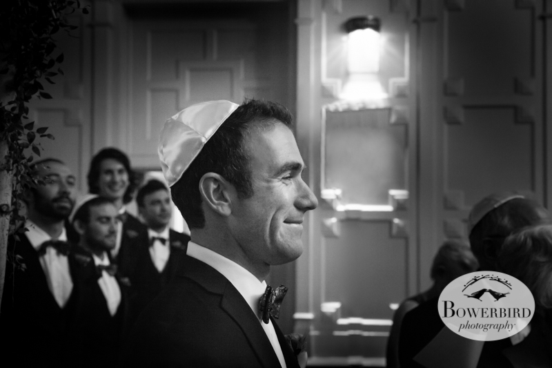 Matt's expression as he watches his bride walk down the aisle for the first time, is priceless! San Francisco Mark Hopkins Wedding Photo.JPG
