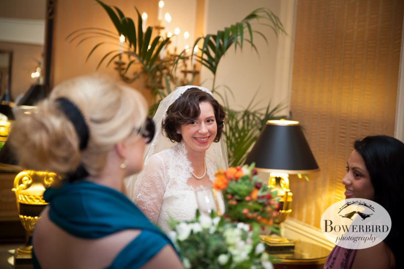 The bride greets her guests. ©Bowerbird Photography 2013; Mark Hopkins Hotel Wedding, San Francisco.