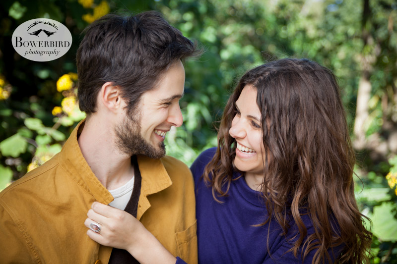 All smiles! © Bowerbird Photography 2013; Engagement Photography in Golden Gate Park, Botanical Gardens, San Francisco.