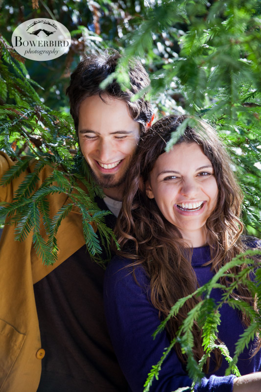 Playing in the redwoods. © Bowerbird Photography 2013; Engagement Photography in Golden Gate Park, Botanical Gardens, San Francisco.