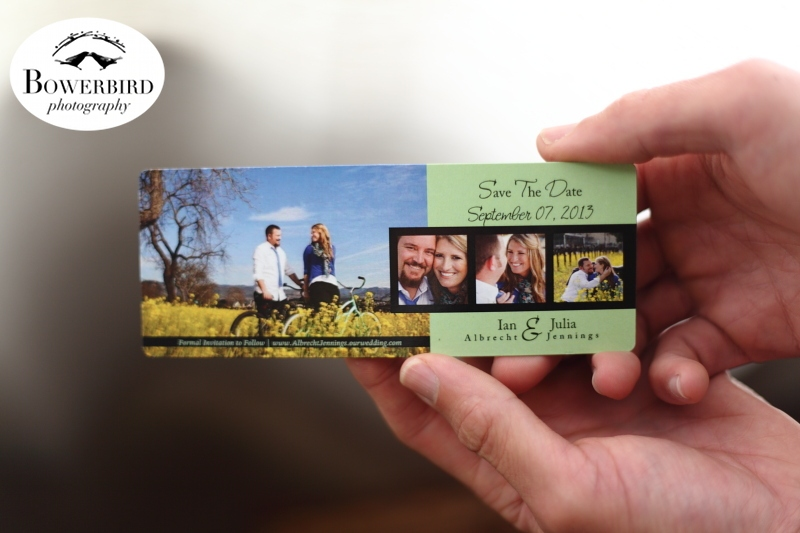 Julia + Ian's Save-The-Date magnet. © Bowerbird Photography 2013.