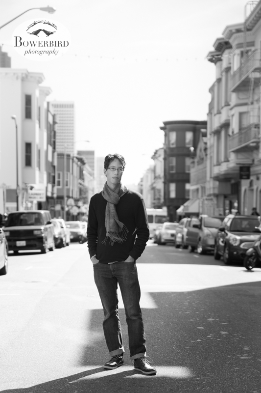 Sam on Grant Ave in North Beach. © Bowerbird Photography 2013; Engagement Photography Site Visit, San Francisco.
