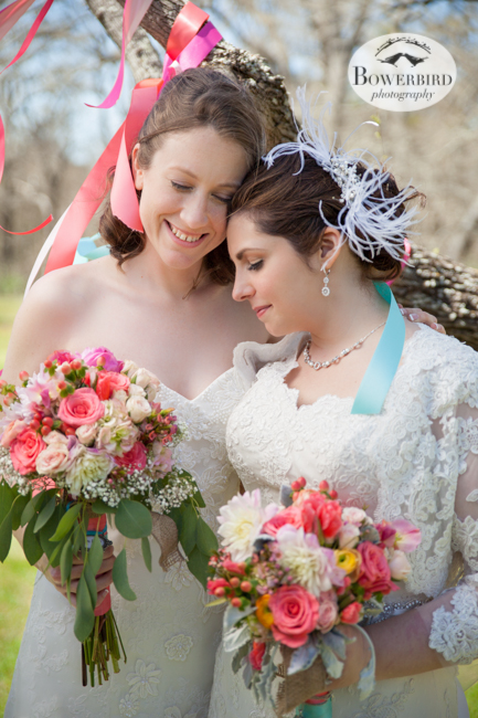 © Bowerbird Photography 2013, Lesbian carnival themed wedding in Bastrop, Texas.