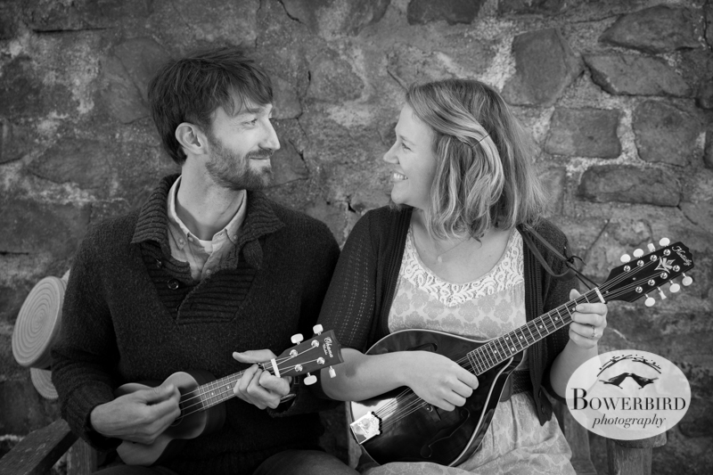 Lauren + Tommy playing their ukulele and mandolin. © Bowerbird Photography 2013; Engagement Photo in the Botanic Gardens at Tilden Park, Berkeley.