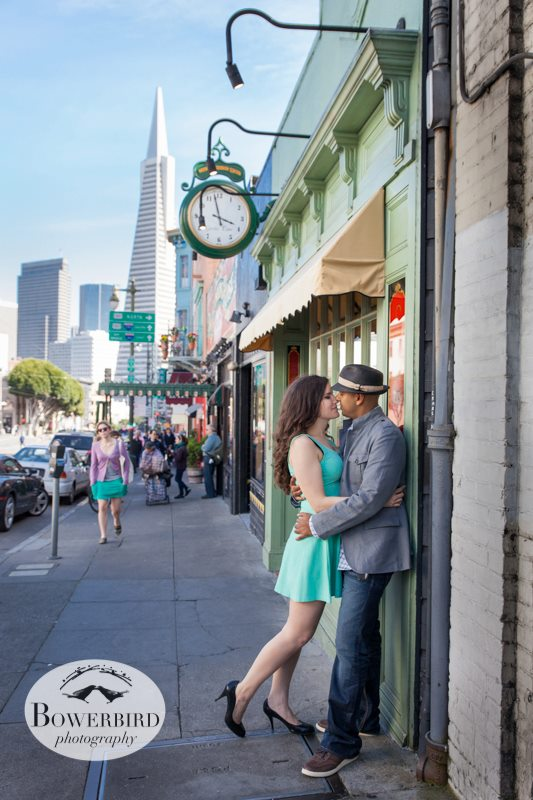 North Beach, with the Transamerica Pyramid in the background. © Bowerbird Photography 2013; Engagement Photo in San Francisco.