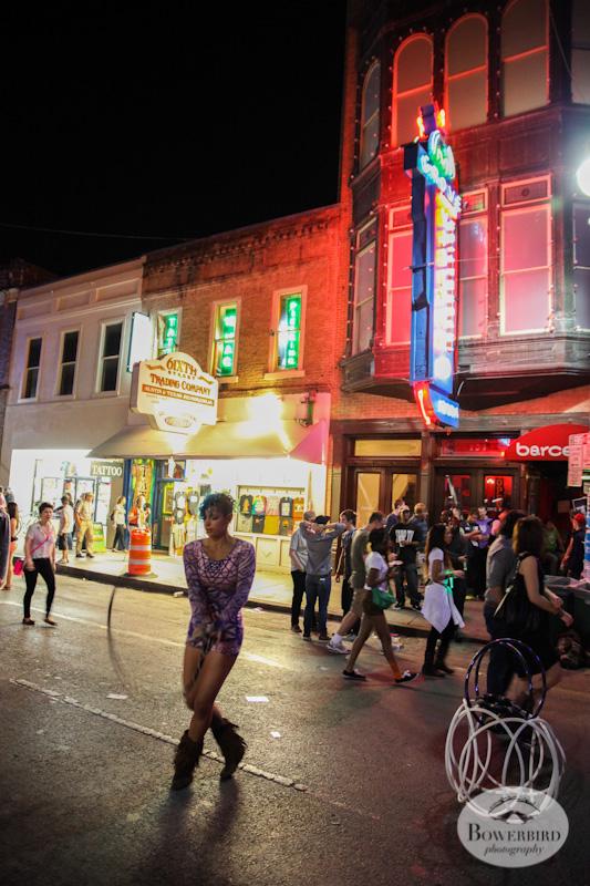 On 6th Street, night hula hooping. © Bowerbird Photography, Austin and SXSW 2013 Photo.