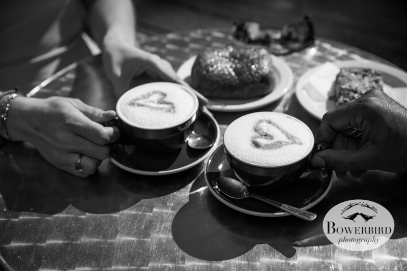 We heart coffee. © Bowerbird Photography 2013; San Francisco Engagement Photo.