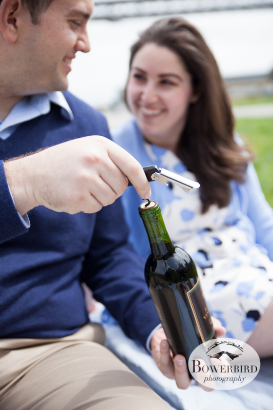 Opening some vino from Napa :) © Bowerbird Photography 2013; San Francisco Engagement Photo.