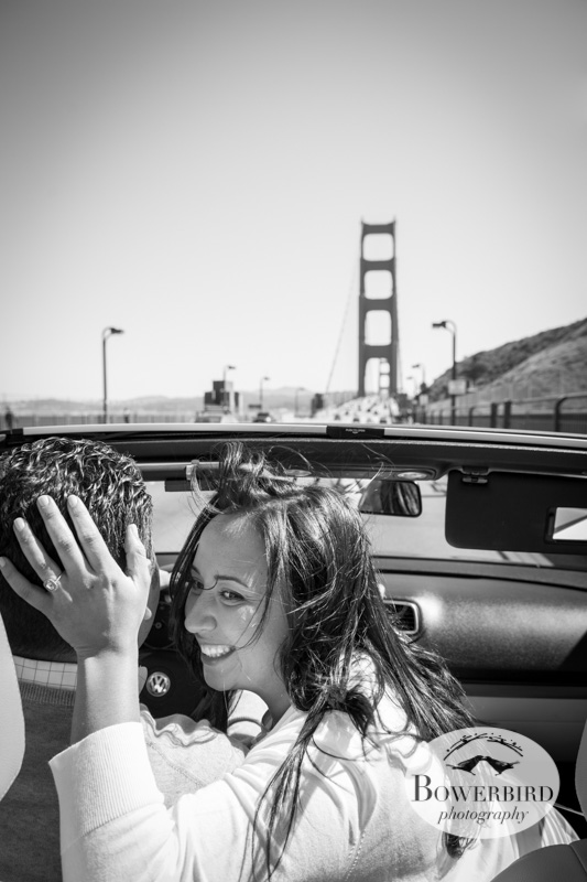 Lovers on the Golden Gate Bridge. © Bowerbird Photography 2013; San Francisco Engagement Photo.