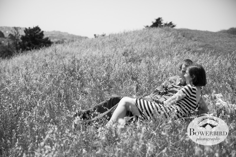 Relaxing in the grass. © Bowerbird Photography 2013; San Francisco Engagement Photo.