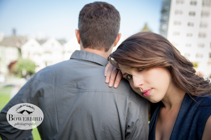 By the Painted Ladies. © Bowerbird Photography 2013; Alamo Square, San Francisco Engagement Photo.