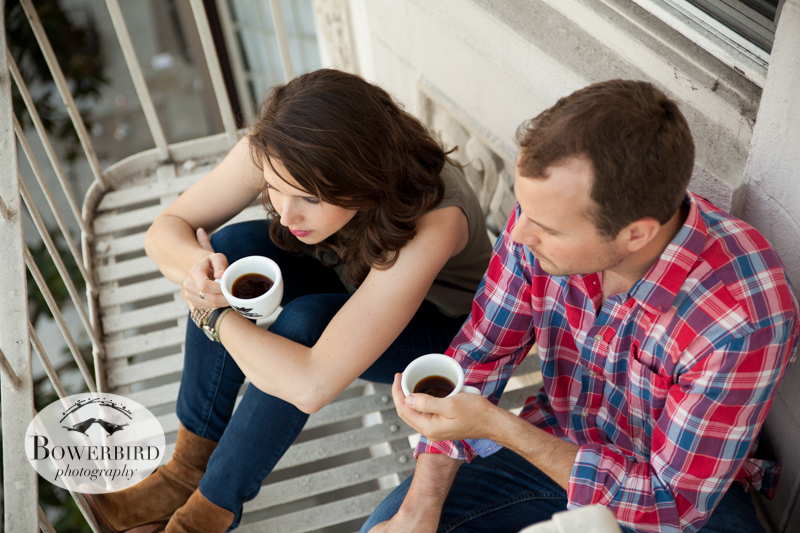 Relaxing on the fire escape. © Bowerbird Photography 2013; A Coffee Date, San Francisco Engagement Photo.