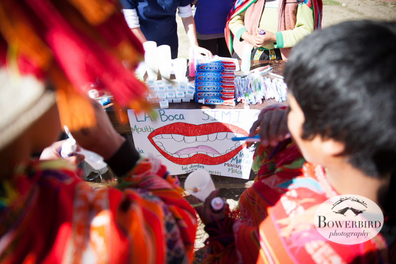 Teeth brushing station :) © Bowerbird Photography 2013, Sacred Valley Health and Suny Brockport in Huilloc, Peru.