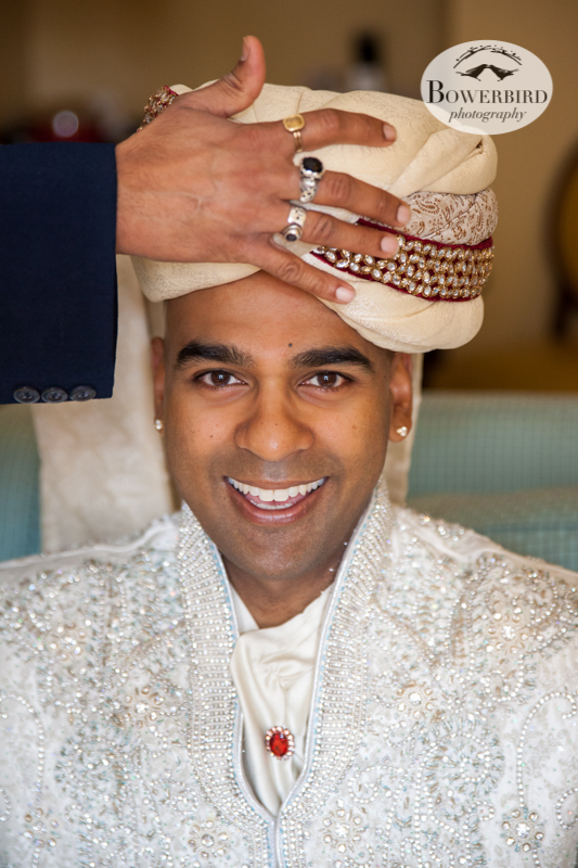 The groom gets his headdress put on. © Bowerbird Photography 2013, Pagri, South Asian Wedding at the San Francisco JW Marriott and Winery SF on Treasure Island