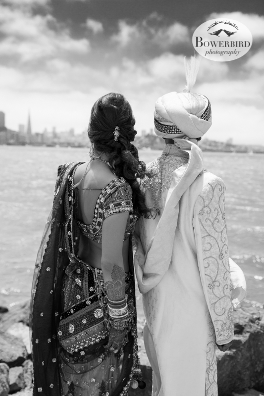 Looking at the spectacular view of the City from Treasure Island.   © Bowerbird Photography 2013, View of San Francisco from Treasure Island, South Asian Wedding at the Winery SF on Treasure Island.