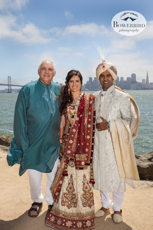The groom, the bride, and her dad.© Bowerbird Photography 2013, Family Photos on Treasure Island, South Asian Wedding at The Winery SF on Treasure Island.