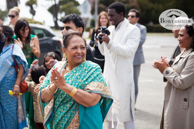 Avneesh's mom during the baraat. © Bowerbird Photography 2013, South Asian Wedding at the San Francisco Winery SF on Treasure Island.