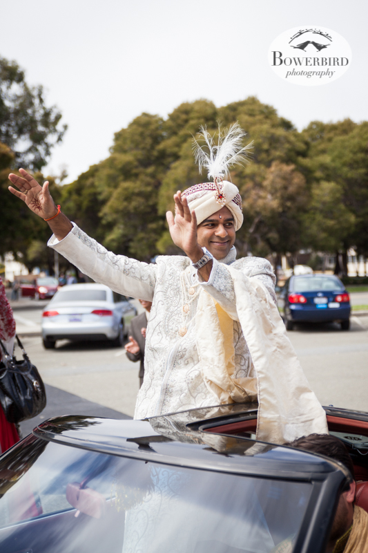 Such a happy groom! © Bowerbird Photography 2013, South Asian Wedding at the San Francisco Winery SF on Treasure Island.