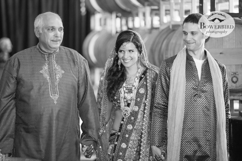 Angelica, looking stunning, walks in with her dad and brother. © Bowerbird Photography 2013, South Asian Wedding at the San Francisco Winery SF on Treasure Island.