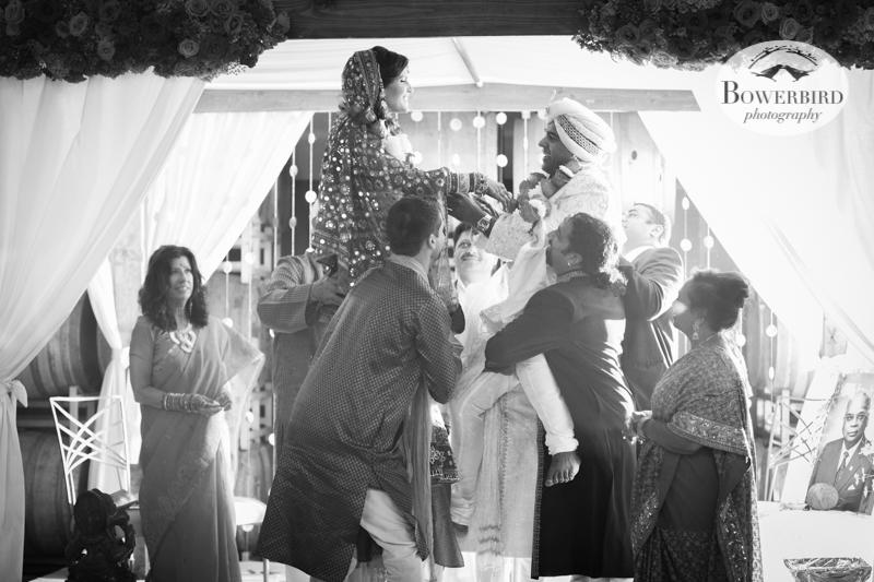 Flying high :) © Bowerbird Photography 2013, South Asian Wedding at the San Francisco Winery SF on Treasure Island.