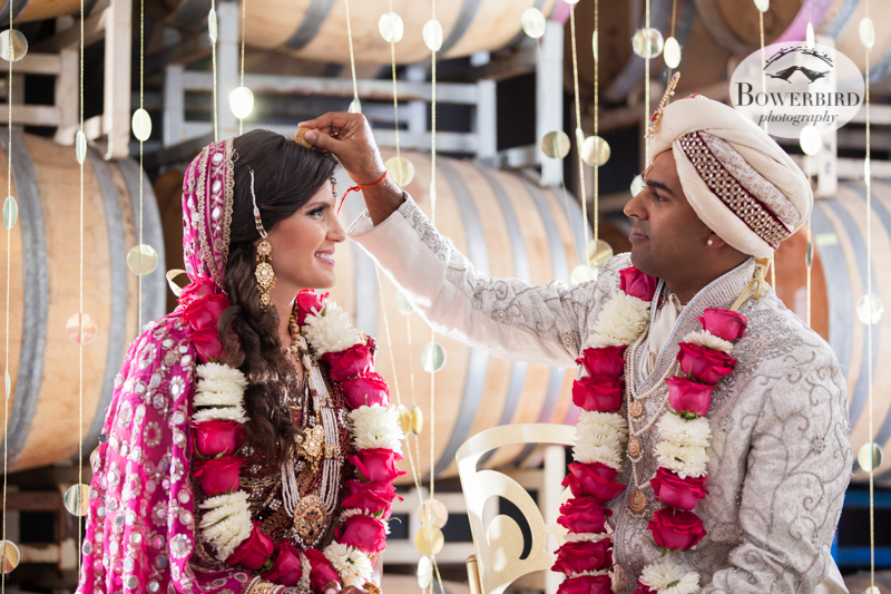 Blessing the bride. © Bowerbird Photography 2013, South Asian Wedding at the San Francisco Winery SF on Treasure Island.