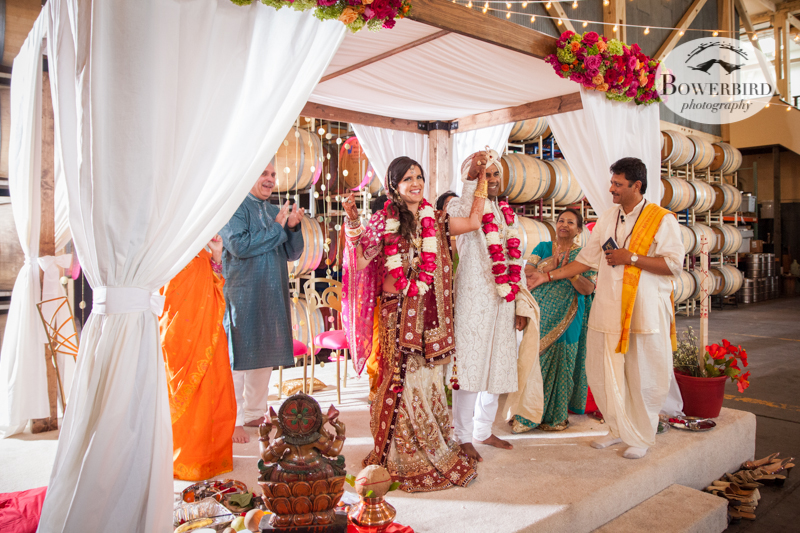 Married!! Yay!! © Bowerbird Photography 2013, South Asian Wedding at the San Francisco Winery SF on Treasure Island.