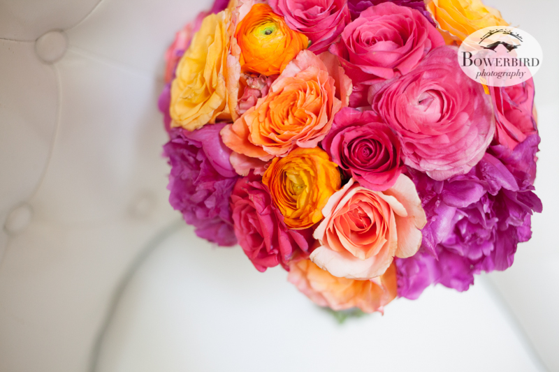 The colorful wedding flowers. © Bowerbird Photography 2013, Wedding at the San Francisco Winery SF on Treasure Island.