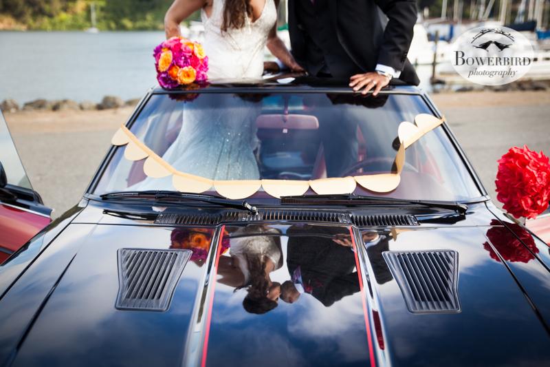 In the Datsun. © Bowerbird Photography 2013, Wedding at the San Francisco Winery SF on Treasure Island.