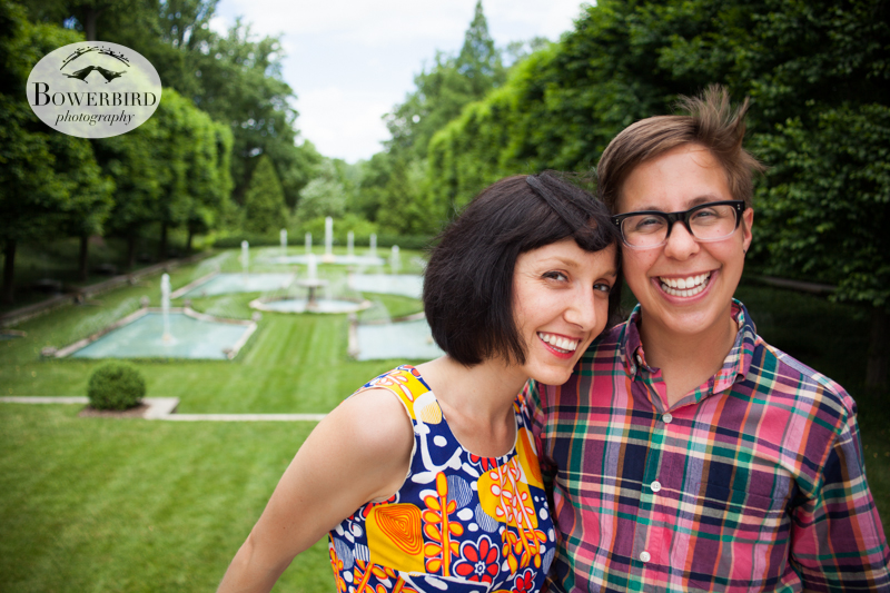 Cuties by the Italian fountains. © Bowerbird Photography 2013,anniversary photos,LGBTQ couples photo session in Longwood Gardens, Pennsylvania.