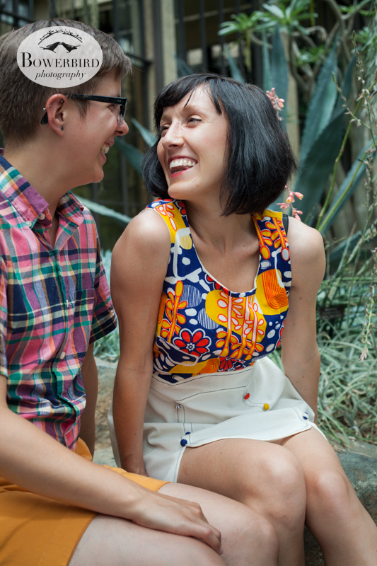 Beautiful smiles. © Bowerbird Photography 2013,anniversary photos,LGBTQ couples photo session in Longwood Gardens, Pennsylvania.