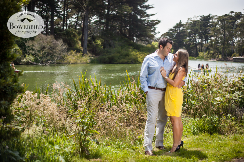 By Stow Lake. © Bowerbird Photography 2013, San Francisco Engagement Photo at Stow Lake in Golden Gate Park.