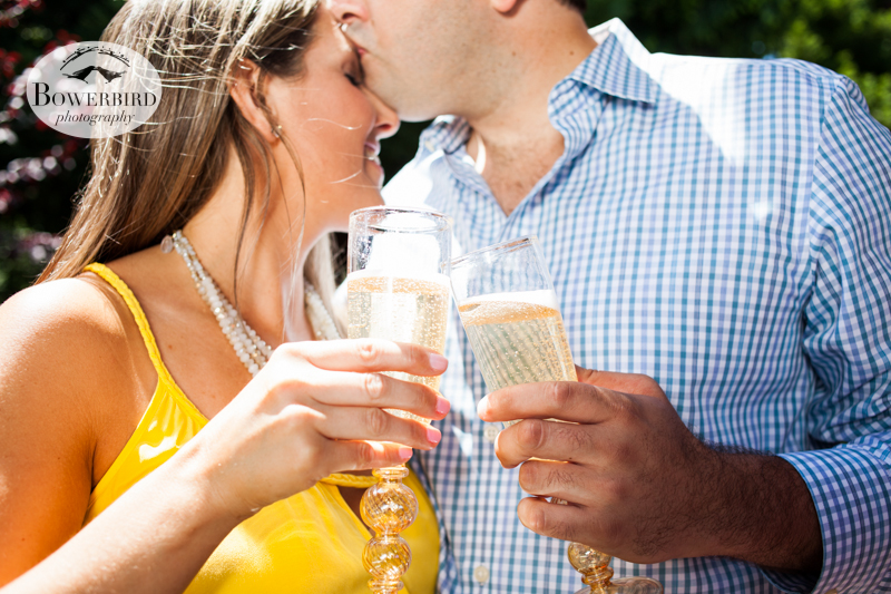 Sharing some bubbly :) © Bowerbird Photography 2013, San Francisco Engagement Photo at Stow Lake in Golden Gate Park.