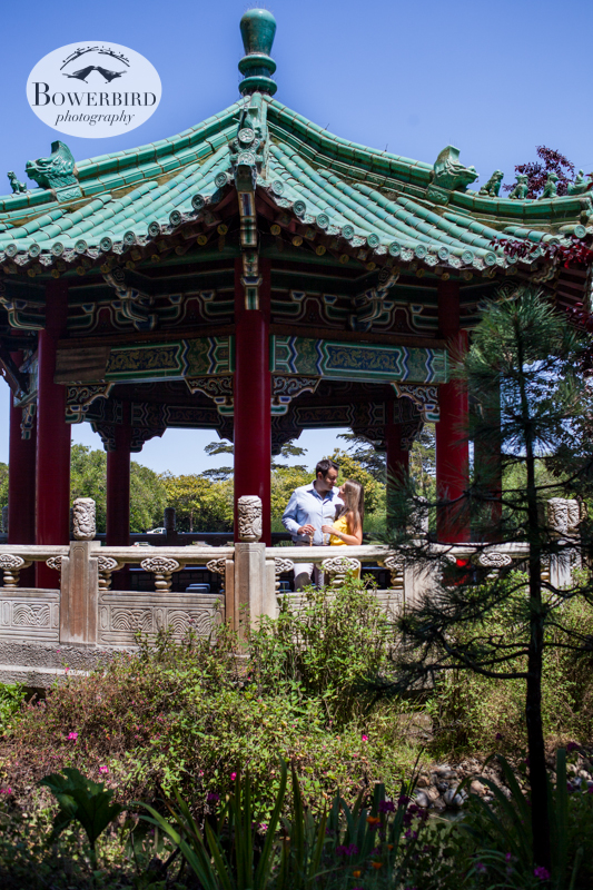 In the pagoda. © Bowerbird Photography 2013, San Francisco Engagement Photo at Stow Lake in Golden Gate Park.