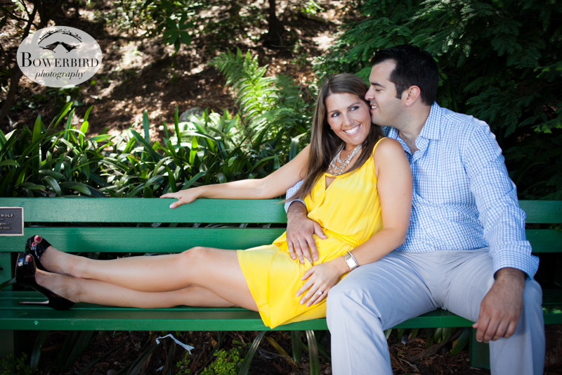 Sneaking a kiss :) © Bowerbird Photography 2013, San Francisco Engagement Photo at Stow Lake in Golden Gate Park.