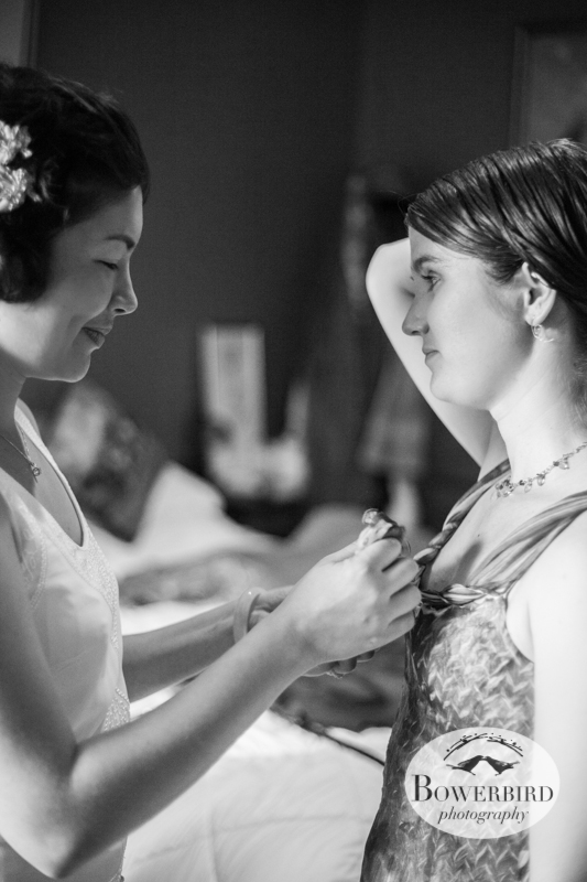 Sunisa helping her new sister get ready. © Bowerbird Photography 2013, Destination Wedding Photography in the Brandywine Valley, Pennsylvania.