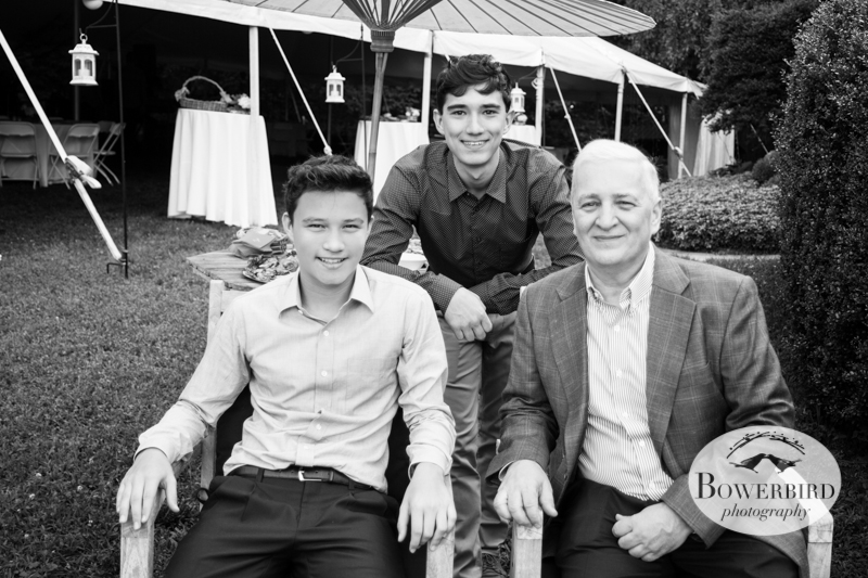 Sunisa's dad and brothers relaxing in the garden. © Bowerbird Photography 2013, Destination Wedding Photography in the Brandywine Valley, Pennsylvania.