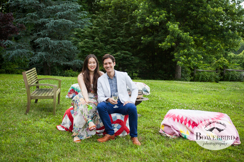 Relaxing on the lawn before dinner. © Bowerbird Photography 2013, Destination Wedding Photography in the Brandywine Valley, Pennsylvania.