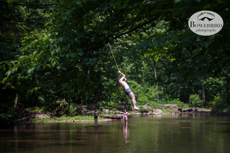 Paul on the rope swing! © Bowerbird Photography 2013.