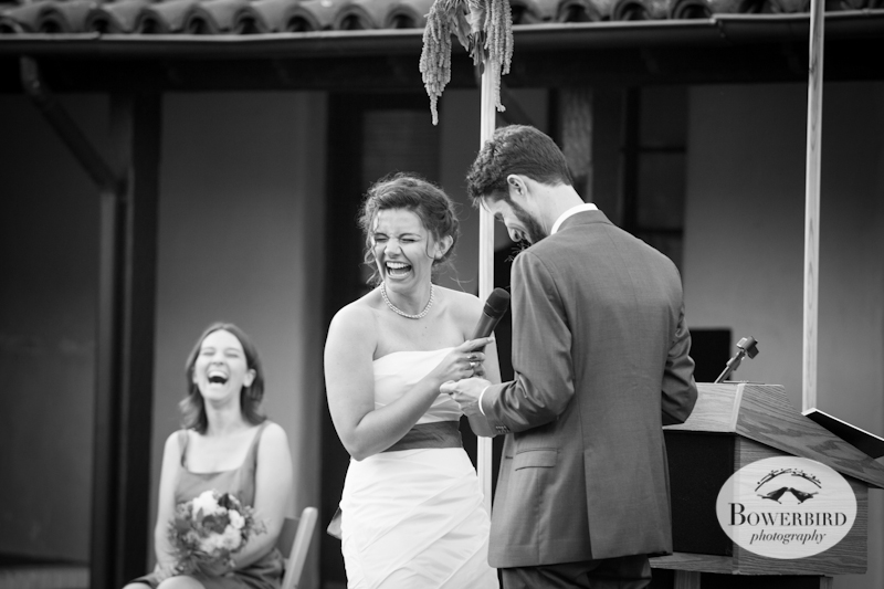 The ceremony was filled with laughter. Lucie Stern Community Center Wedding Photos.© Bowerbird Photography 2013
