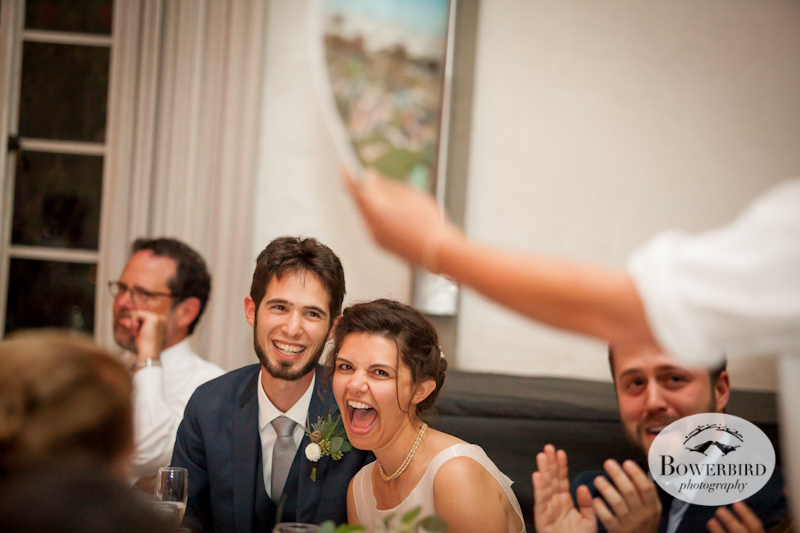 The groom's brother's epic, awesome toast concluded with the gift of a special edition New Yorker magazine. Lucie Stern Community Center Wedding Photos.© Bowerbird Photography 2013