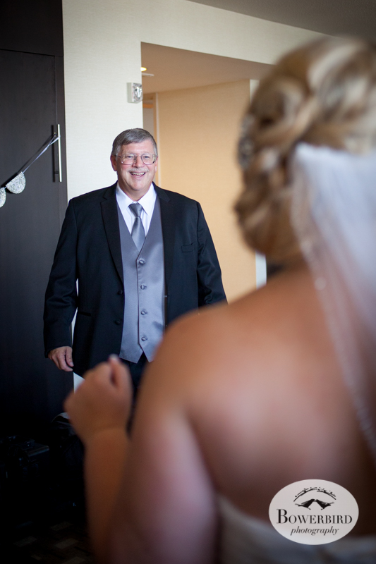 Westin St. Francis. The father of the bride sees his daughter in her wedding dress © Bowerbird Photography 2014