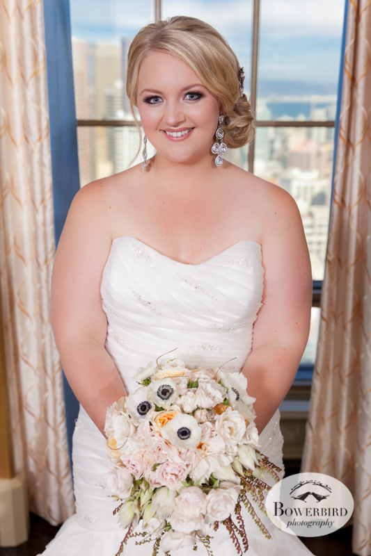 Westin St. Francis. The bride looking gorgeous in her wedding dress! © Bowerbird Photography 2014