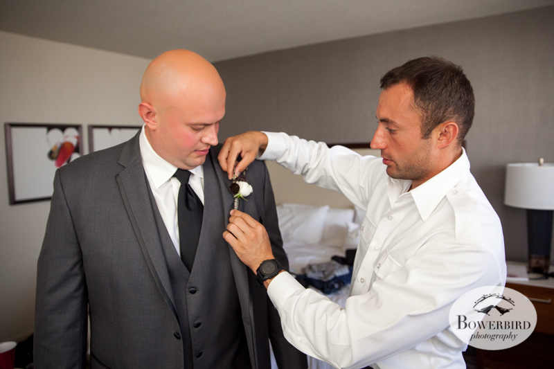 Westin St. Francis. The groom gets his boutonniere. © Bowerbird Photography 2014