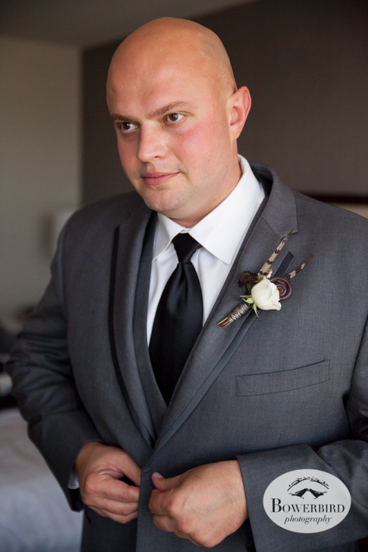 Westin St. Francis. The Groom gets prepped. © Bowerbird Photography 2014