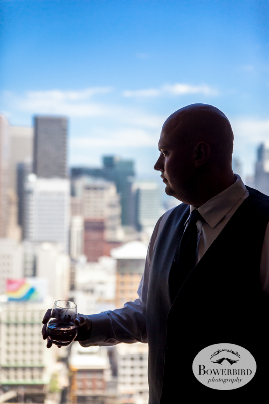 The groom with his glass of vodka. Westin St. Francis wedding. © Bowerbird Photography 2014