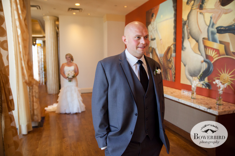 First Look. Westin St. Francis Hotel SF Wedding © 2014 Bowerbird Photography