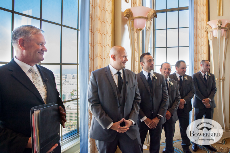 The groom watches for his bride walk down the aisle. Westin St. Francis Hotel SF Wedding © 2014 Bowerbird Photography