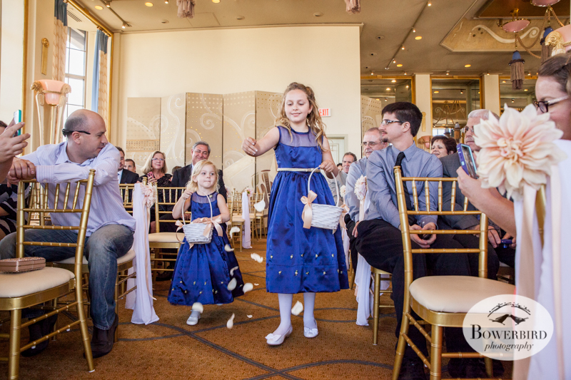 The flower girls pave the way with flowers. Westin St. Francis wedding ceremony on Imperial Floor. © 2014 Bowerbird Photography